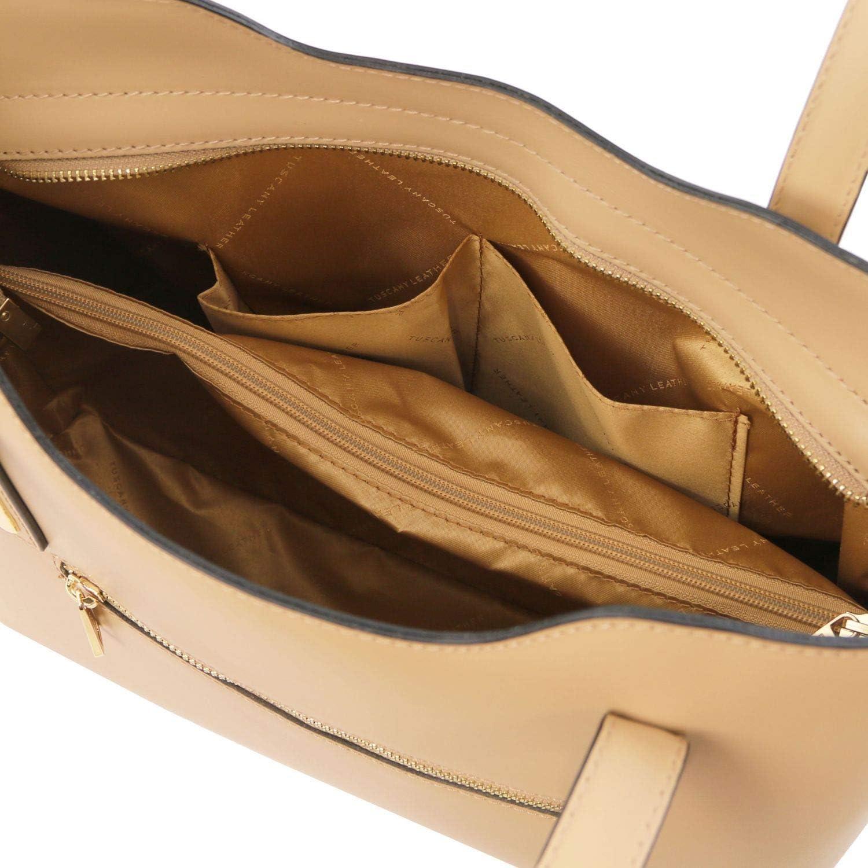 Tuscany Leather Olimpia Borsa shopping in pelle Blu scuro Champagne