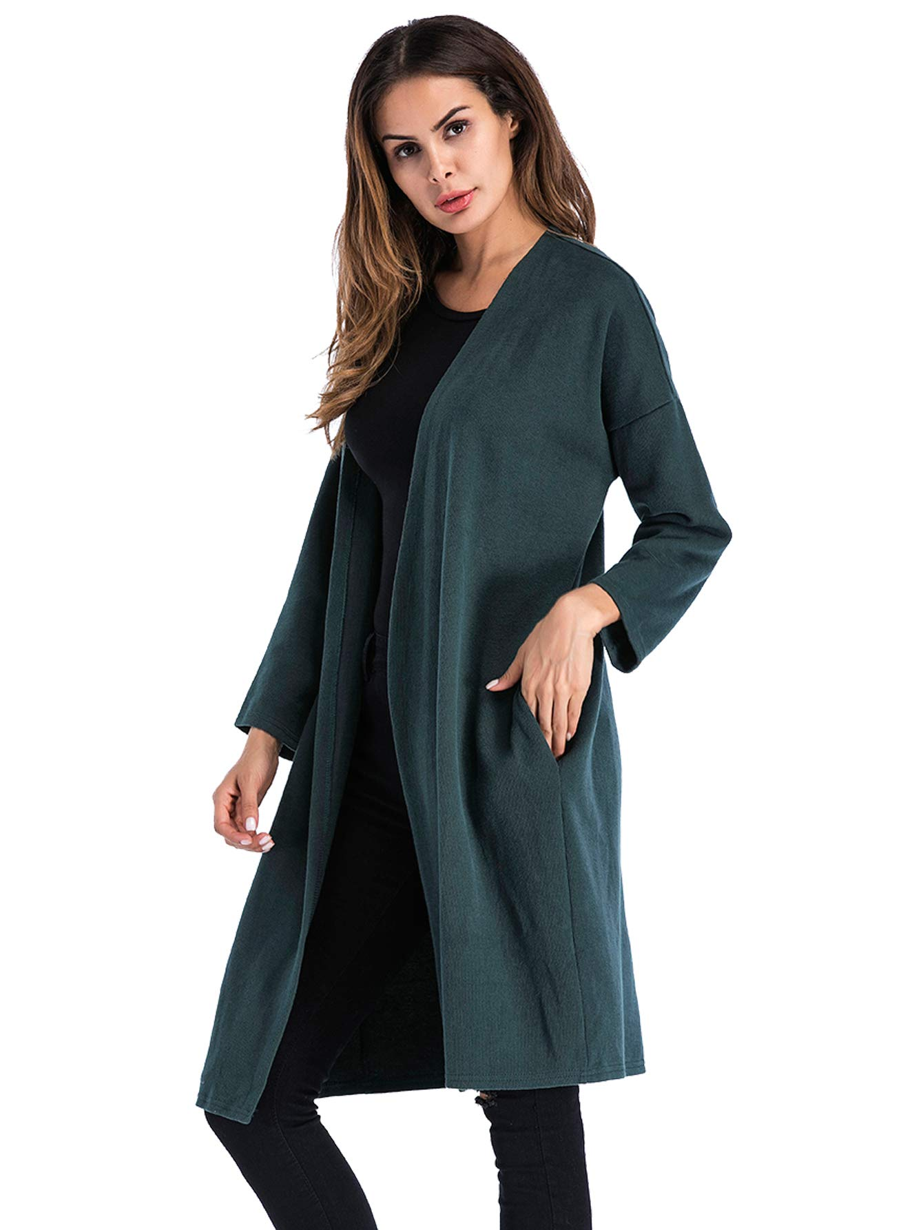 FreeNFond Jackets with Pockets,Fall Cardigan Sweaters Lightweight Tunic Outwear Green