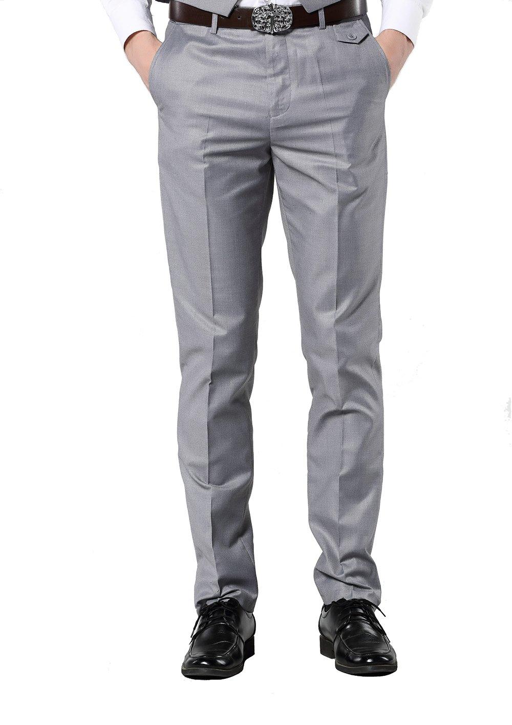 UNINUKOO Men's Colorful Casual Suit Pants Slim Fit US Size 33 (Label Size L) Light Grey