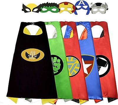 Sinoeem Capa de Superhéroe para Niños - 5 Capa y 5 Máscaras ...