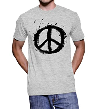 Peace Symbol Printed Mens Half Sleeve Grey T Shirt Small Amazon