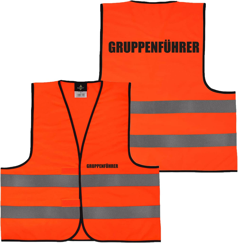Orange Warnweste Gelb Orange beidseitig bedruckt auf Brust und R/ücken mit Ordner Security gro/ße Auswahl Motive Aufdrucke 031 Bauleiter XXL