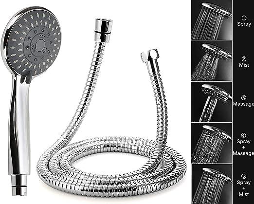 Lote de cabezal de ducha universal multifunci/ón con 3 modos con soporte cromado y una manguera de acero inoxidable de 1,5/m
