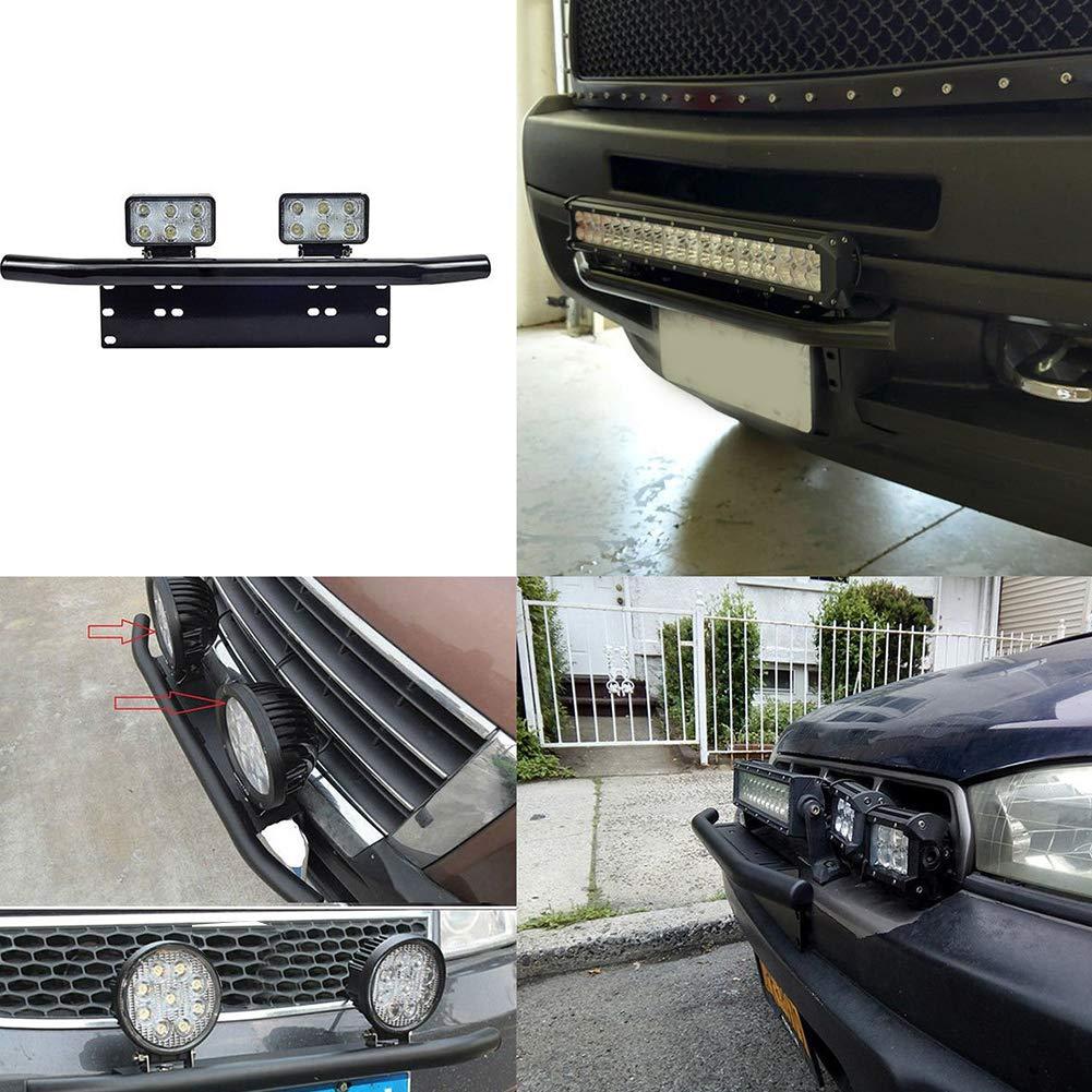 furgoni autocarri Triclicks Portatarga universale in alluminio fuoristrada montaggio su paraurti trattori supporto per autoveicoli nero