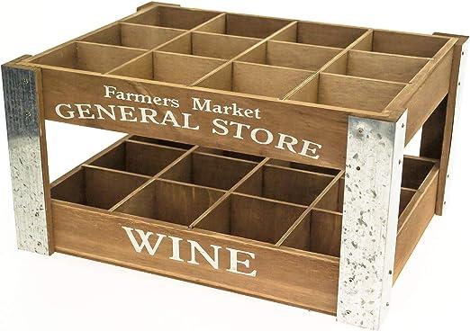 Caja de madera con 12 compartimentos para botellas de vino: Amazon.es: Hogar