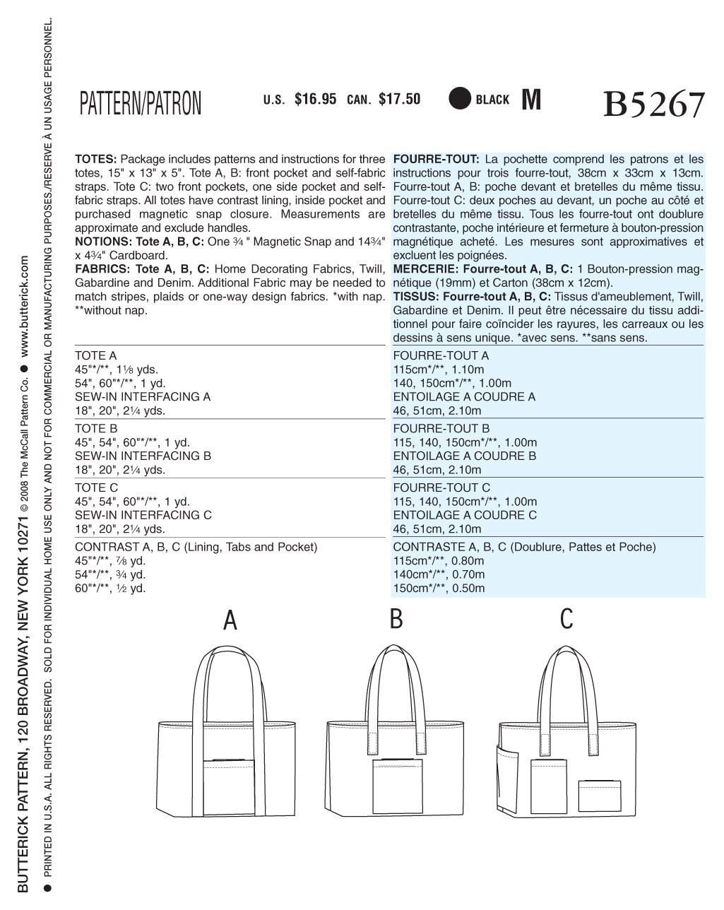 BUTTERICK PATTERNS B5267 Totes, One Size Only B5267OSZ