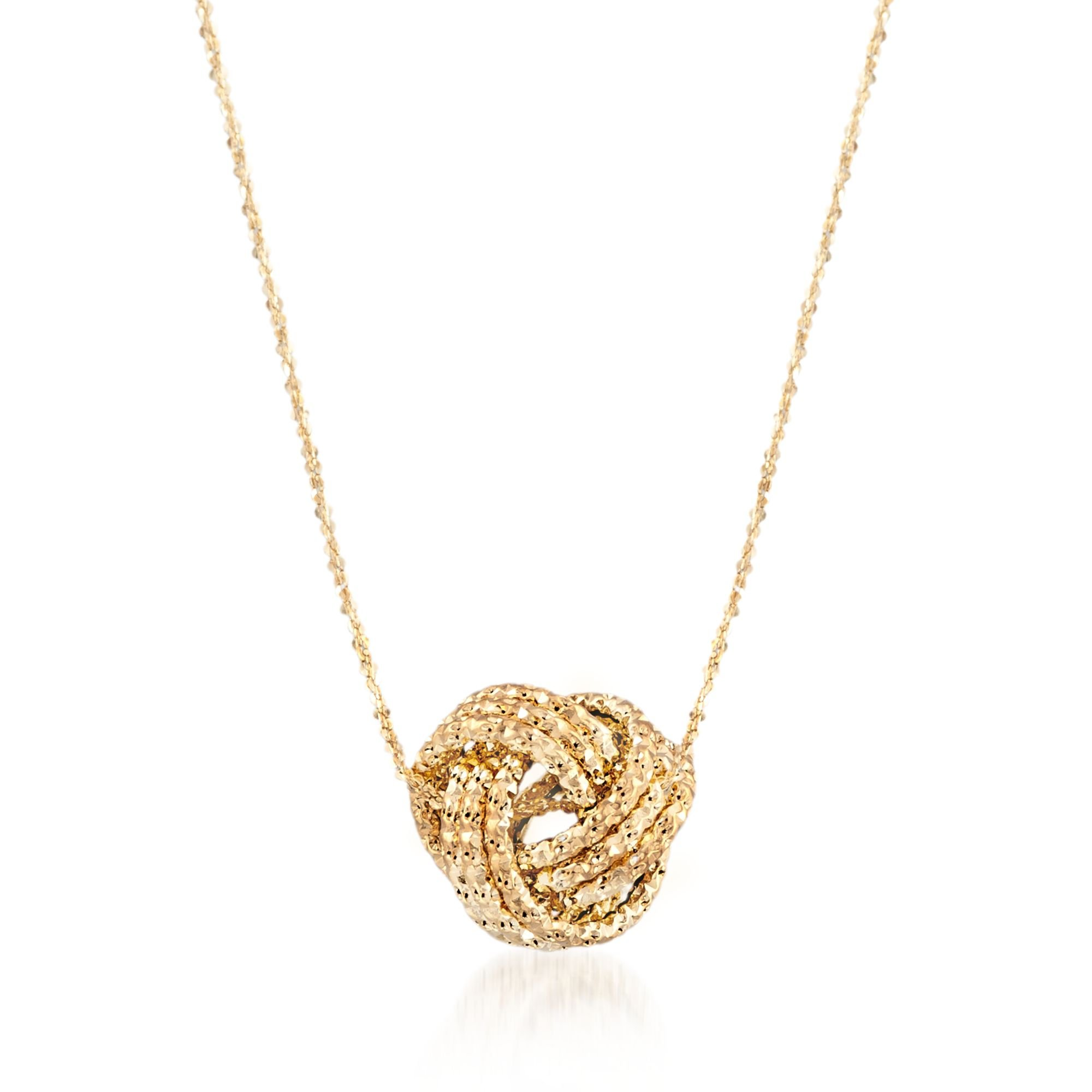 Ross-Simons Italian 14kt Yellow Gold Textured Love Knot Necklace