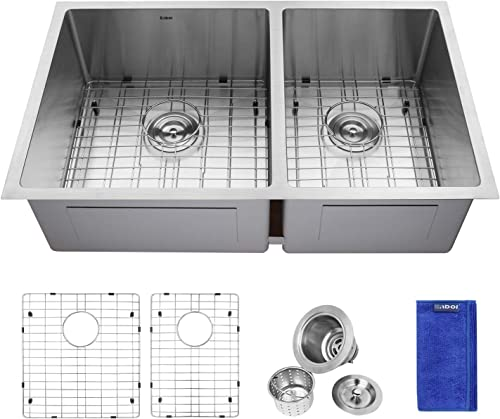 Enbol ESD3319LL, 33 Inch Undermount 60 40 Double Bowl 16 Gauge Stainless Steel Kitchen Sink with Grid and Strainer, 10 Inch Extra Deep, Round Corner for More Easy Clean