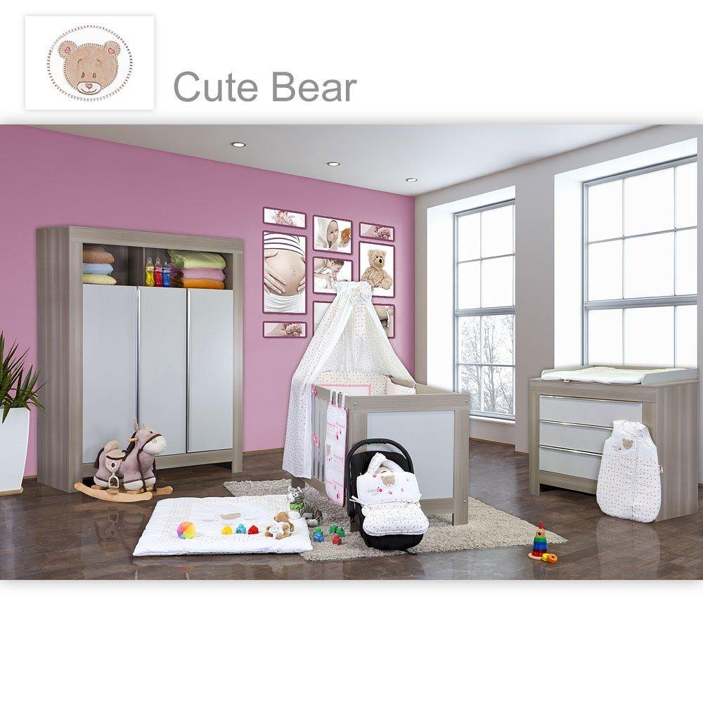 Babyzimmer Felix in akaziengrau 21 tlg. mit 3 türigem Kl. + Cute Bear in Rosa