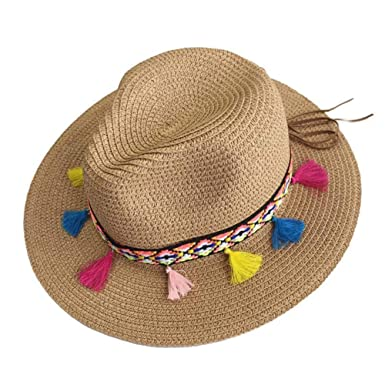 952f47cecd4 Summer Hats for Women Straw Wide Brim Color Tassel Chain Men Panama Beach  Bucket Sun Hat