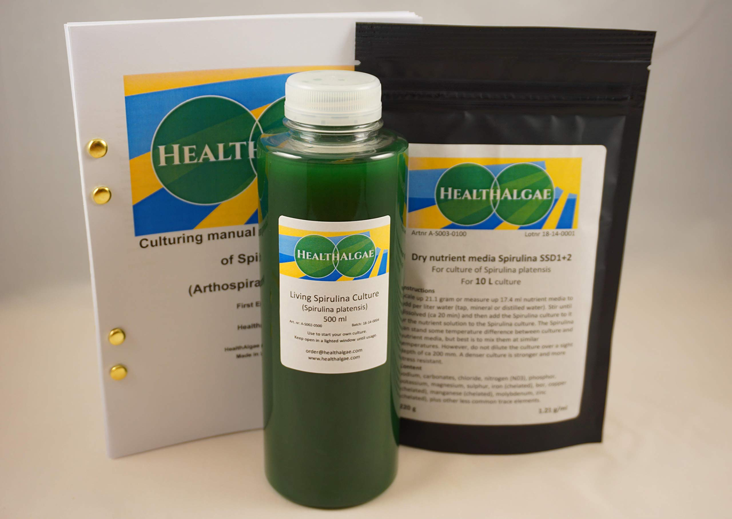 Live Spirulina platensis (500 ml) + 10 L Dry Spirulina Grow Medium SSD1+2 - Algae Culture + fertlizer (500ml 10L)