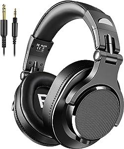 bopmen Bopmen Over Ear Headphones - Wired Studio Headphones with Shareport, Foldable Headsets with Stereo Bass Sound for Monitoring Recording Keyboard Guitar Amp DJ Cellphone, Black