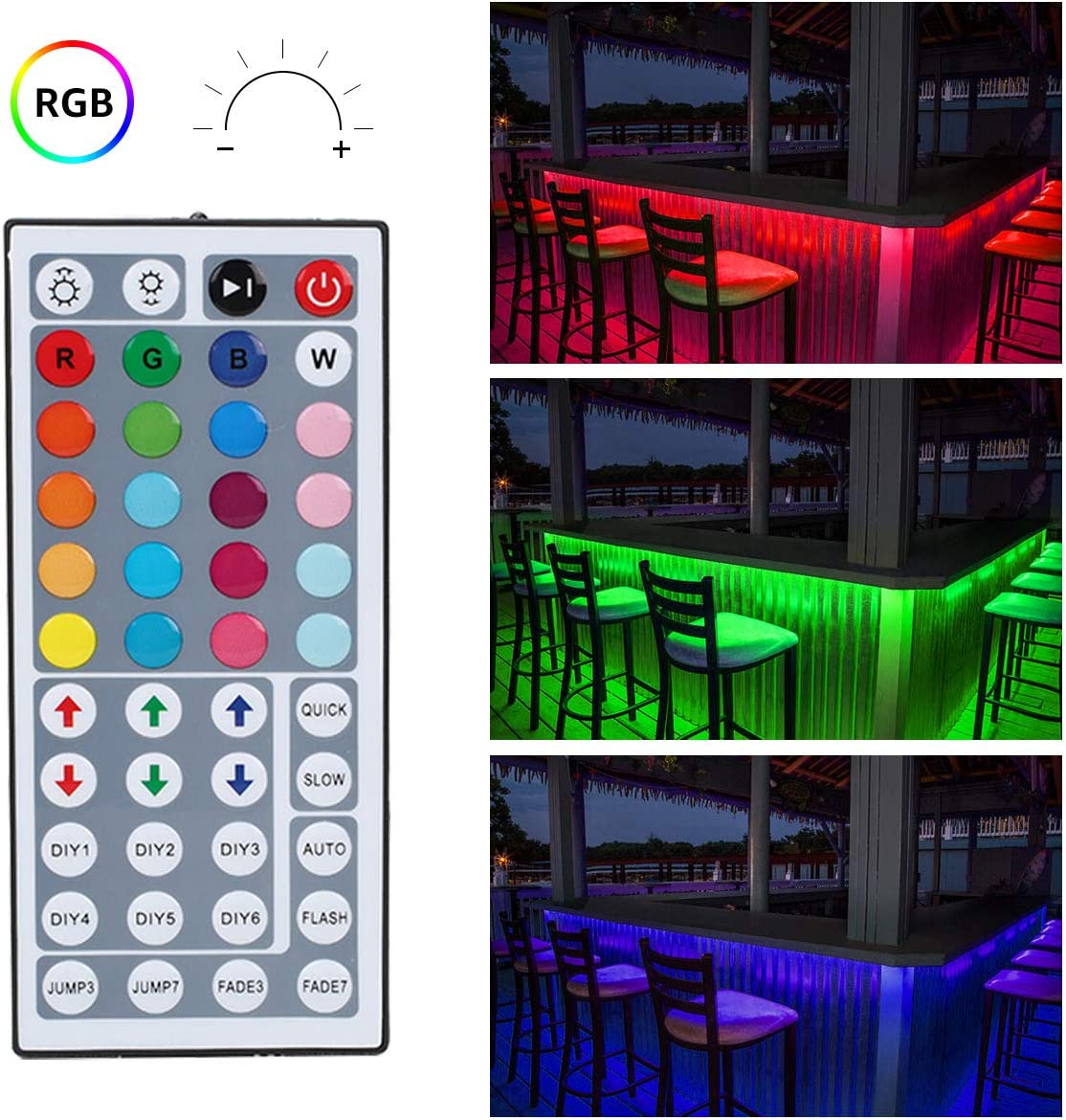 Dimmable Colour Changing TV Backlight 300 SMD5050 LED Tape with Remote and Power Supply LE 5M Waterproof RGB LED Strip Light Kit