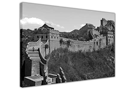 Great wall of china black and white framed canvas wall art prints home deco pictures size