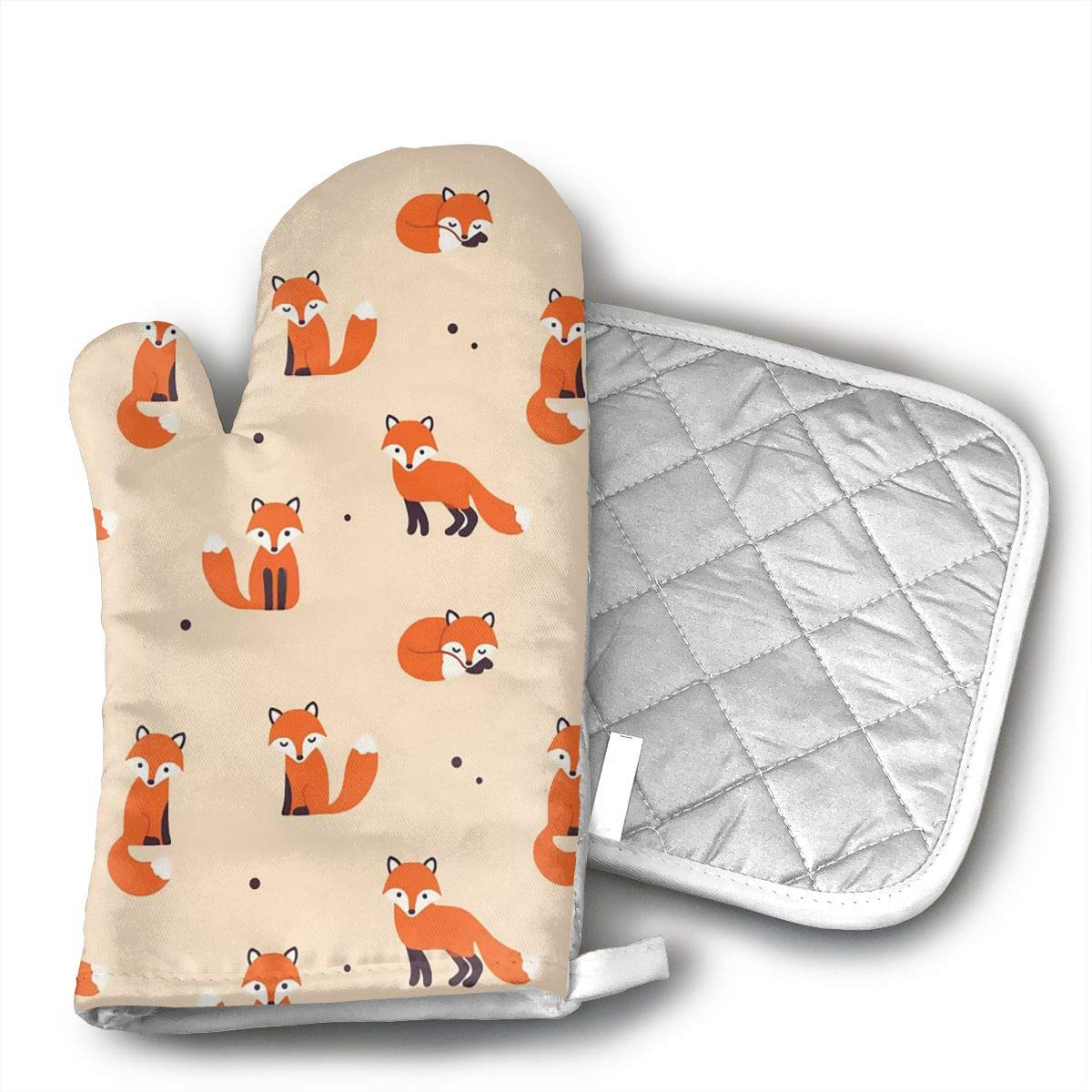 Vintage Cute Little Red Fox Oven Mitt and Pot Holder Set(1Hot Pads and 1 Potholders) for Kitchen Cooking Baking Grilling Heat Resistant
