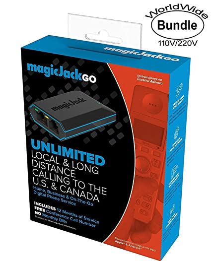 magicjack go digital phone service with usa - international worldwide dual  voltage 110v-220v wall