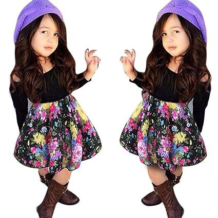 Amazon.com  Baby Girls T-Shirt Tops+Floral Short Skirt 138f4d785