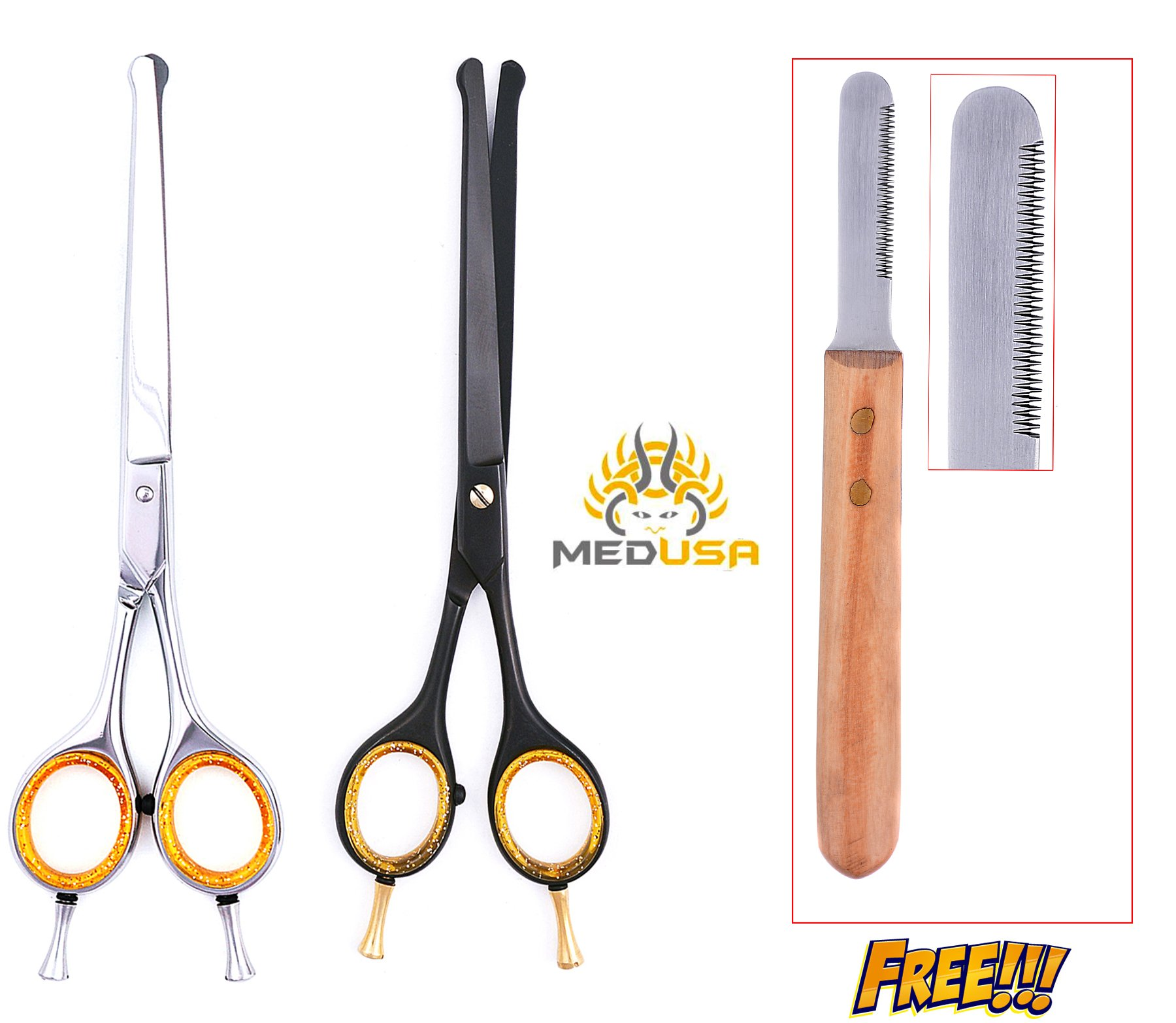 MedUSA Professional 7'' Ball Tipped Razor Edge Japanese Stainless Steel Pet Grooming Scissor Shear (Full Set) by MedUSA