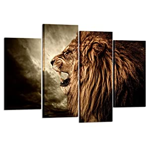 Kreative Arts - 4 Panel Wall Art Lion Painting Print On Canvas Animal Pictures for Home Decor Decoration Gift Piece Stretched by Wooden Frame Ready to Hang