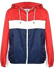 Kids Boys Girls Windbreaker Contrast Block Hooded Jackets Rain Mac Raincoat 5-13