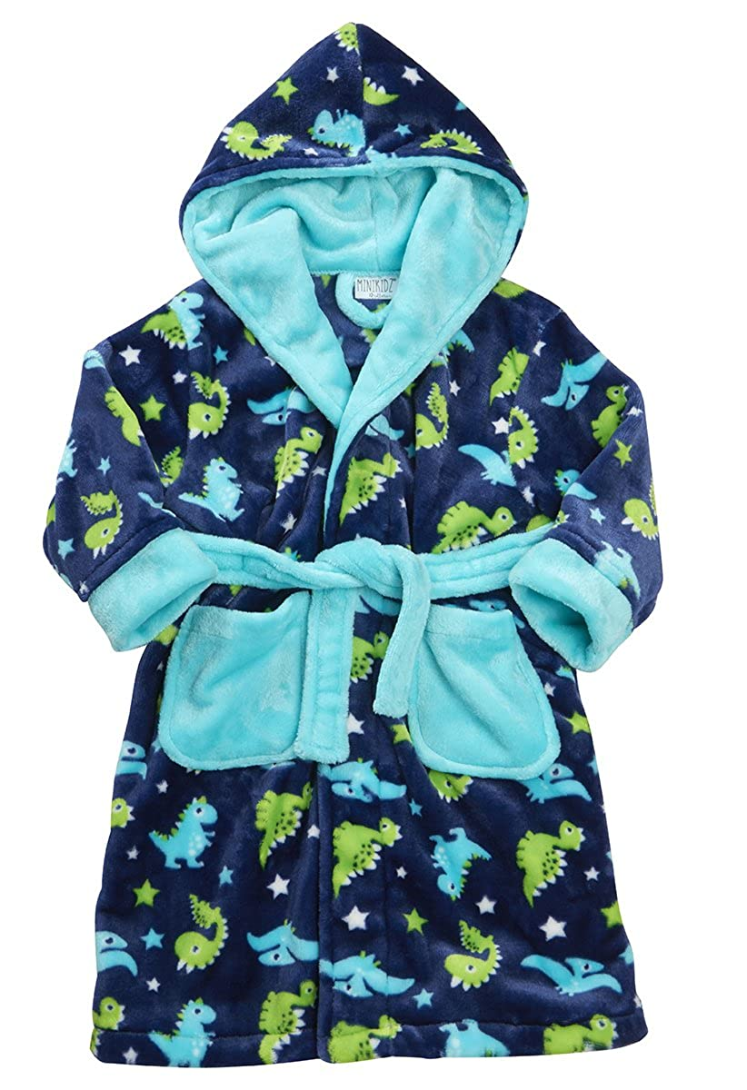 Boys Hooded Fleece Dinosaur Dressing Robe MiniKidz