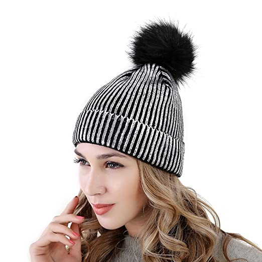 b752ef4e081e87 PHNAM Women's Warm Cap for Winter Sequins Knitted Beanie Hat with Faux Fur  Pom Pom (