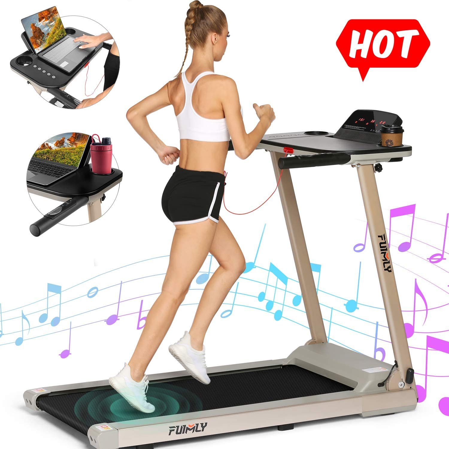 FUNMILY Treadmill, 2.25HP Folding Treadmills for Home with Table & Bluetooth Speaker & Large LCD Monitor, Zero Installation Walking Jogging Machine for Home/Office Use