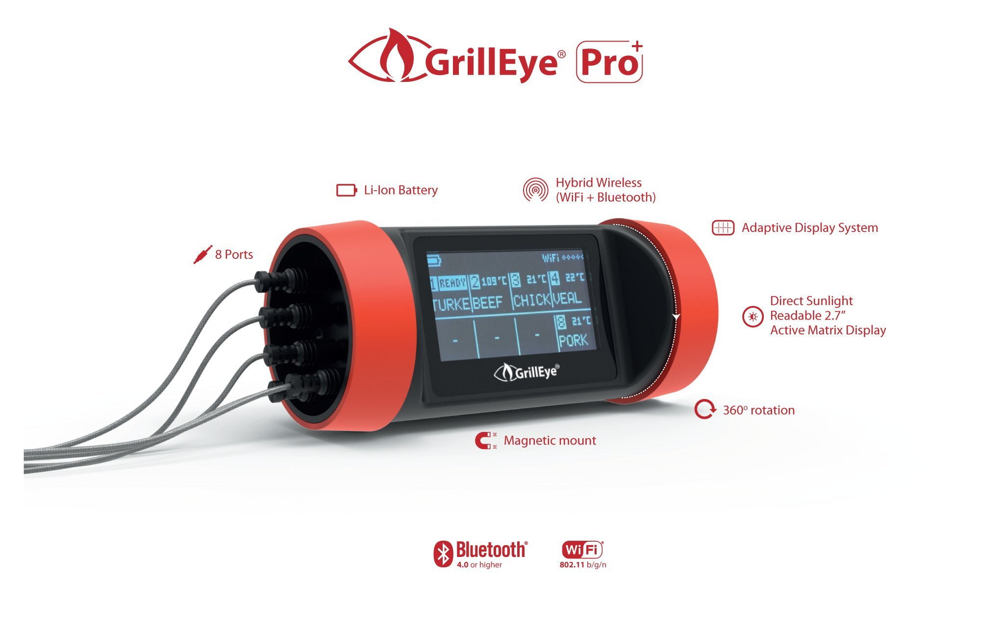 GrillEye Pro Plus Grilling & Smoking Thermometer with Hybrid-Wireless Technology