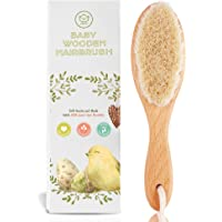 Baby Hair Brush for Newborn - Natural Wooden Baby Hairbrush Comb with Soft Goat Bristles for Cradle Cap - Perfect Scalp…