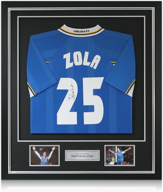 Gianfranco Zola Chelsea Firmado 1998 maillot Europea Recopa, lujo enmarcado (incrustaciones de plata): Amazon.es: Deportes y aire libre