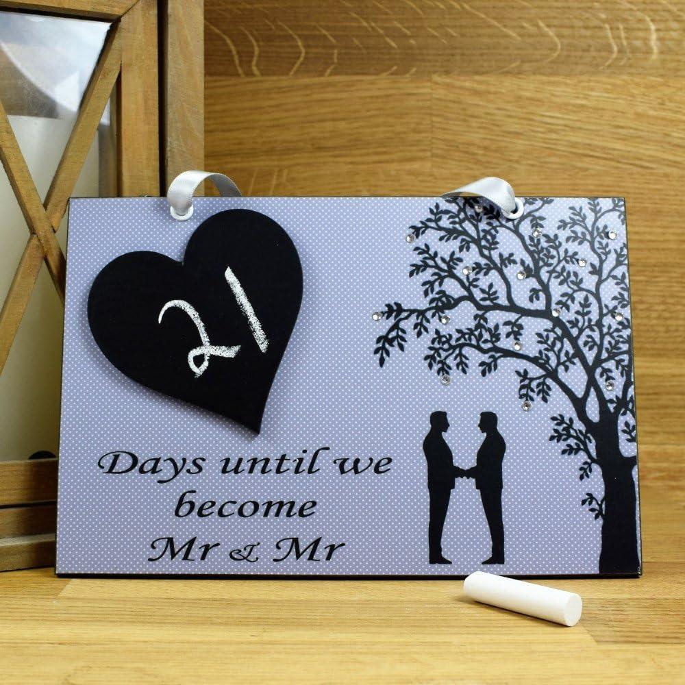 Maise & Rosa Mr & Mr Boda cuenta atrás hecha a mano placa de casa con pizarra corazón – regalo de compromiso 736: Amazon.es: Hogar