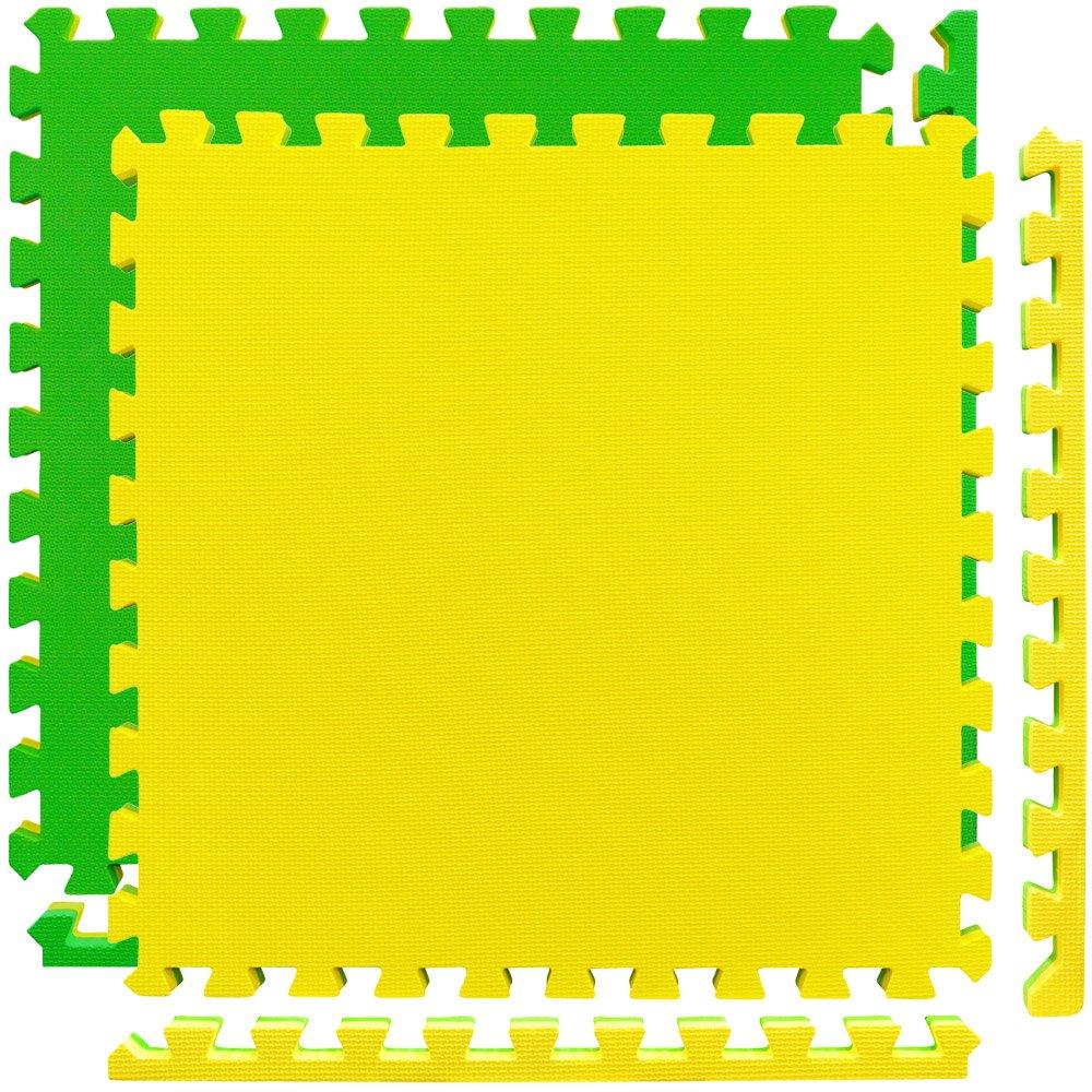 Meister X-THICK 1.5'' Interlocking EVA Foam Mats - 2X Cushion for Wrestling, MMA Takedowns & Gymnastics - 2'x2' Tiles - Yellow/Green - 10 Tiles (40 Sqft)