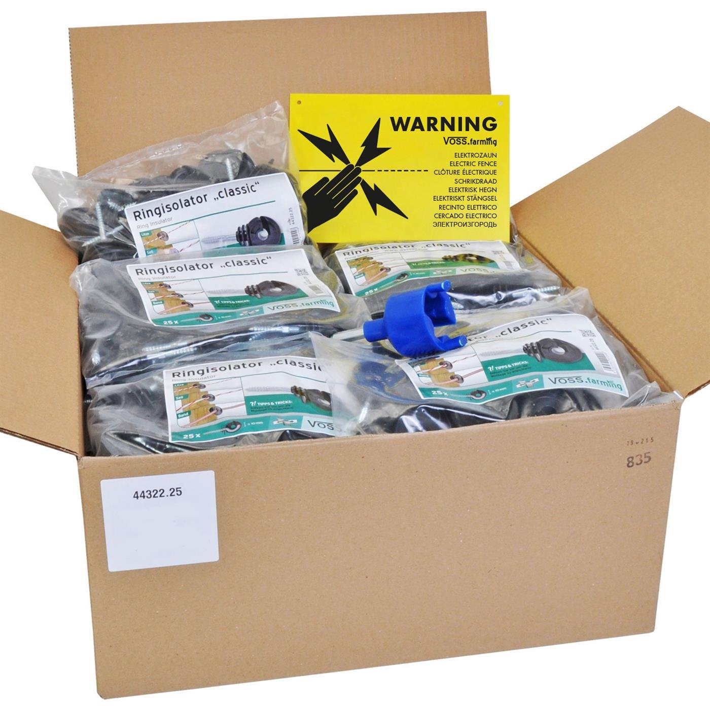 VOSS.farming Electric Fence Mega Pack - Set Includes 500x Classic Ring Insulators, Drill Bit Fixing Tool and Warning Sign
