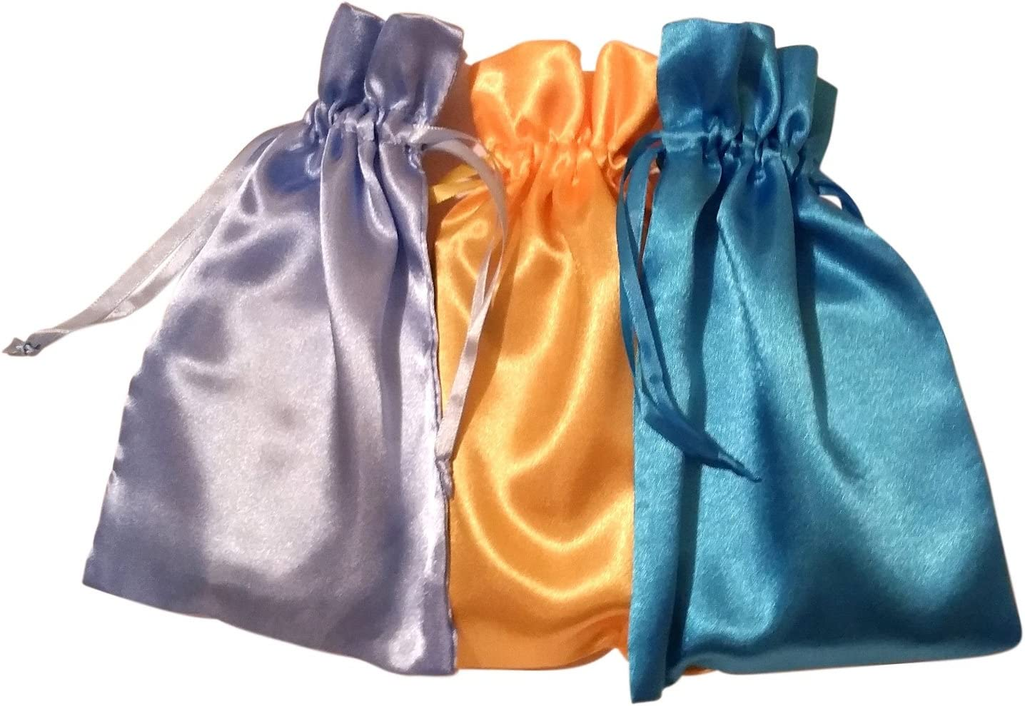 Vibrant Colors Satin Bundle of 3 Tarot Bags PAPERMART Turquoise Orange and Ruby Red 6 X 9 Each