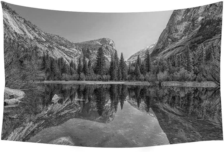 PUPBEAMO PRINTS 60x40 Inches Black and White Wall Tapestry - Mirror Lake Yosemite National Park Mountains - Wall Tapestry Art For Home Decor Wall Hanging Tapestry Bedroom Living Room Dorm Decor