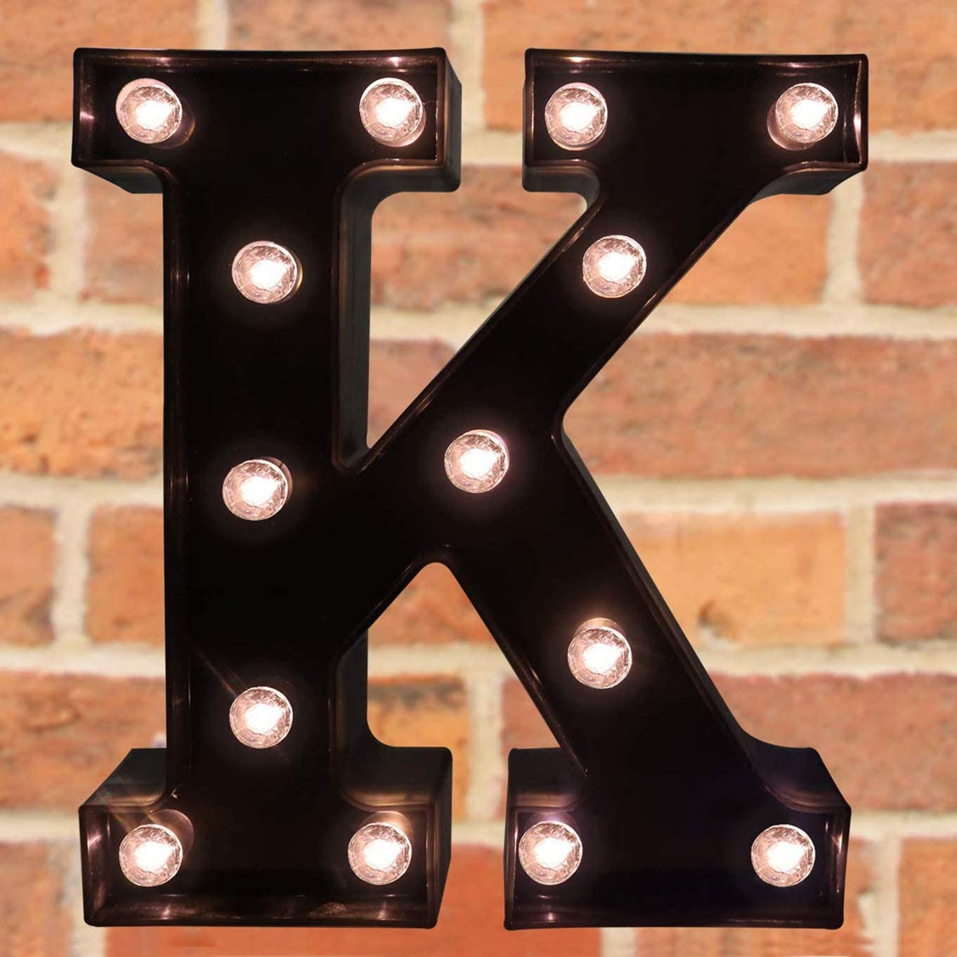 Decorative LED Illuminated Letter Marquee Sign - Alphabet Marquee Letters with Lights for Wedding Birthday Party Christmas Night Light Lamp Home Bar Decoration K, Black