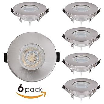Hochwertig 6er Set LED Einbaustrahler Badezimmer IP44 230V Flach Dimmbar 5W Statt 50W  Edelstahl 60° Abstrahlung