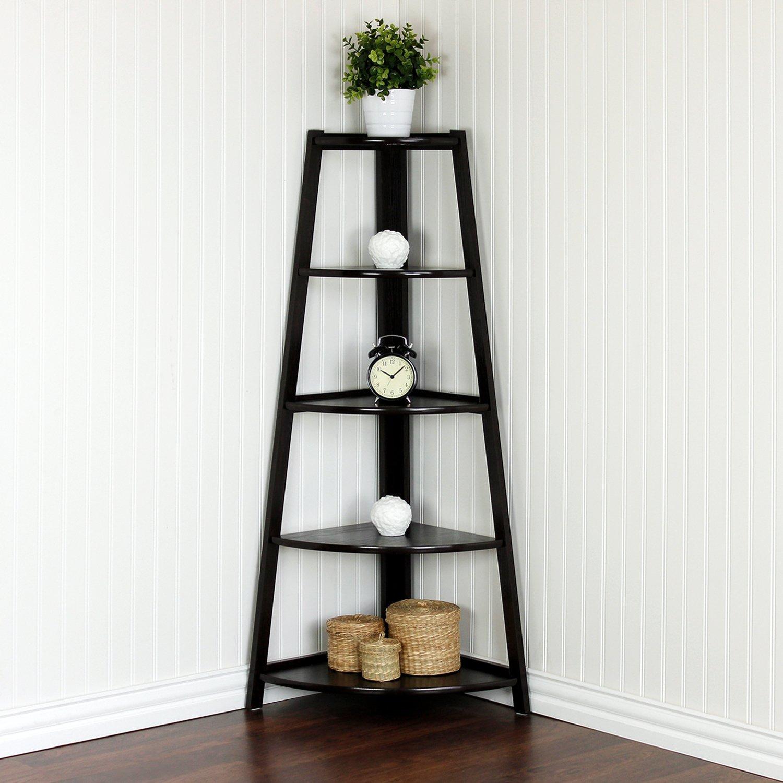 wall standing shelf 5 tier units corner shelves ladder. Black Bedroom Furniture Sets. Home Design Ideas