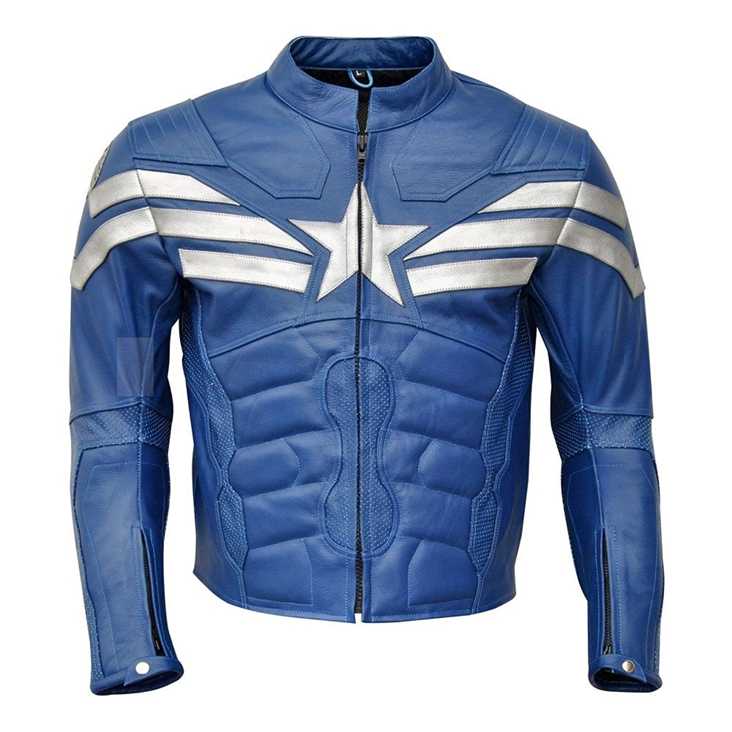 Men's Captain America : Winter Soldier Blue Real Leather Jacket - DeluxeAdultCostumes.com