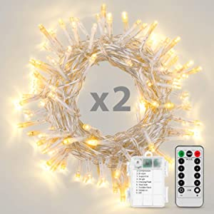 Koxly Christmas Lights, 2 Pack Battery Operated String Lights with Remote Timer Waterproof 8 Modes 36ft 100 LED String Lights for Bedroom,Garden,Party,Xmas Tree Indoor Outdoor Decorations, Warm White