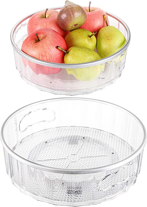 Hedume Set of 2 Lazy Susan Turntable with Handle, Basics Plastic Kitchen Turntable, Multifunctional Spice Racks Organizer, 360 Degree Rotating Food Storage Container for Refrigerator or Countertop
