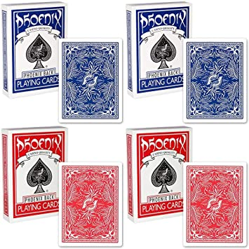4 Barajas de Cartas Playing Cards Phoenix Colore BLU/Red ...