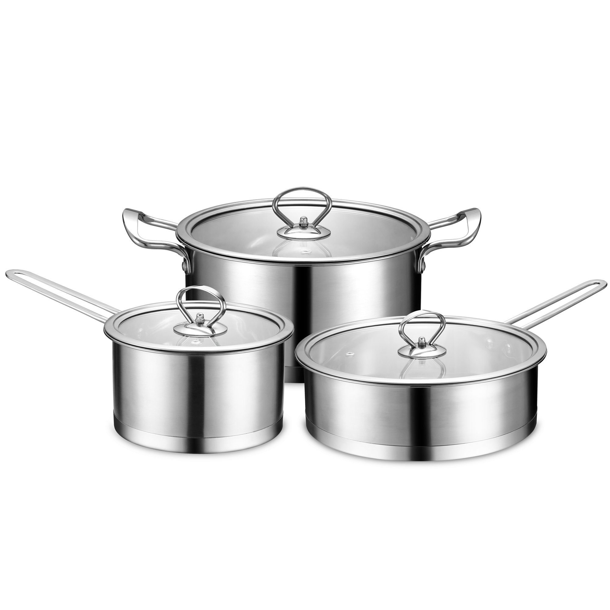 BINLIFA Stainless Steel Nonstick Tri-Ply Induction Ready Cookware Set 6 Piece,Silver by BINLIFA
