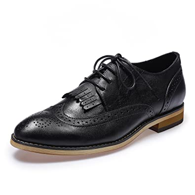 5ffc98c55751 Mona flying Womens Leather Perforated Lace-up Brogue Wingtip Derby Saddle  Oxfords Shoes for Womens