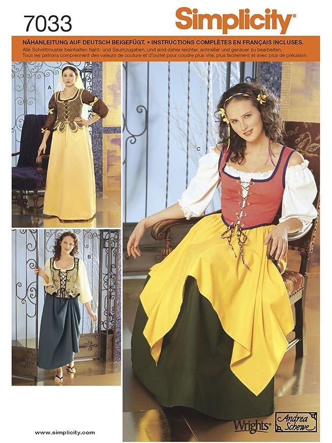 Simplicity Schnittmuster 7033 DD Kostüm Gr. 30-36: Amazon.de: Küche ...