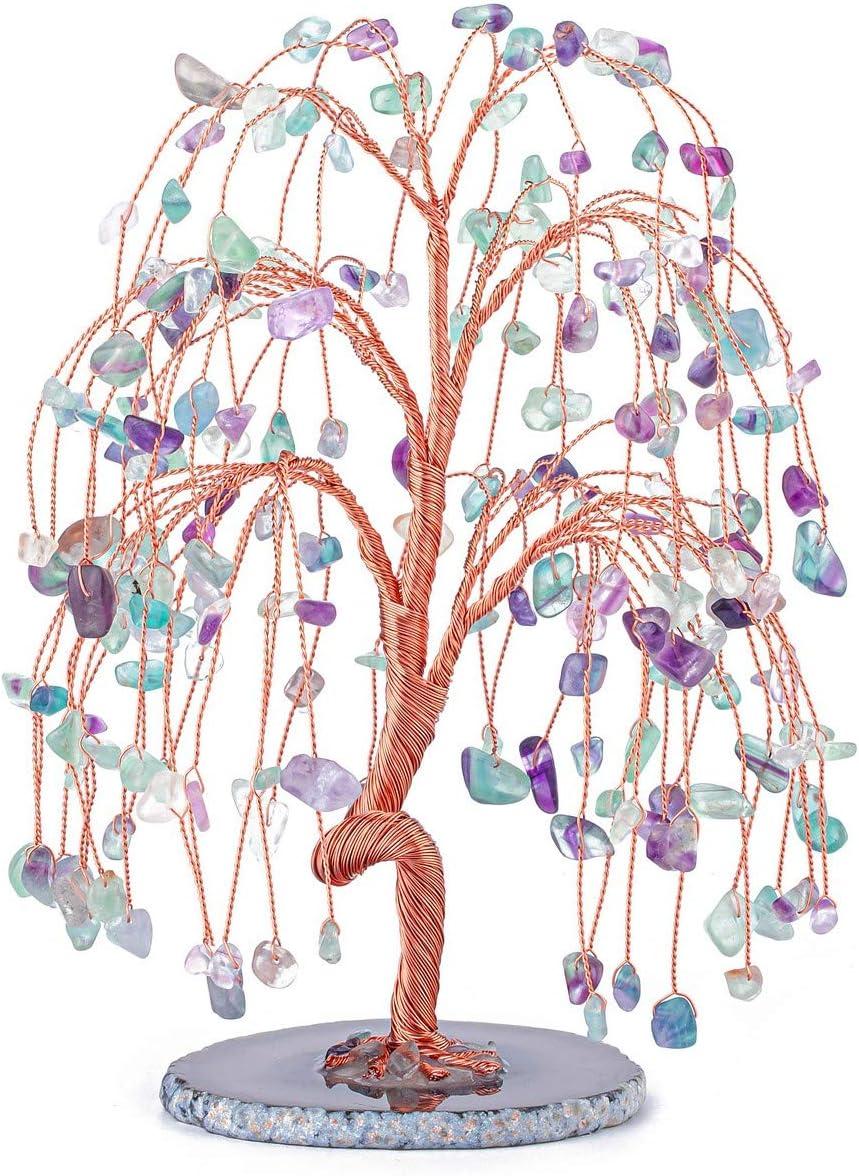 JSDDE - Árbol de la vida en piedra de 7 chakras, decoración del árbol de la vida, Feng Shui piedra cristal de energía salsa reiki, meditación, yoga, felicidad, casa fluorescente