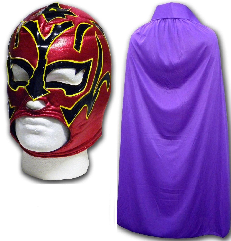 WRESTLING MASKS UK Men's Estrella Fugaz Luchador Wrestling Mask With Cape One Size Purple