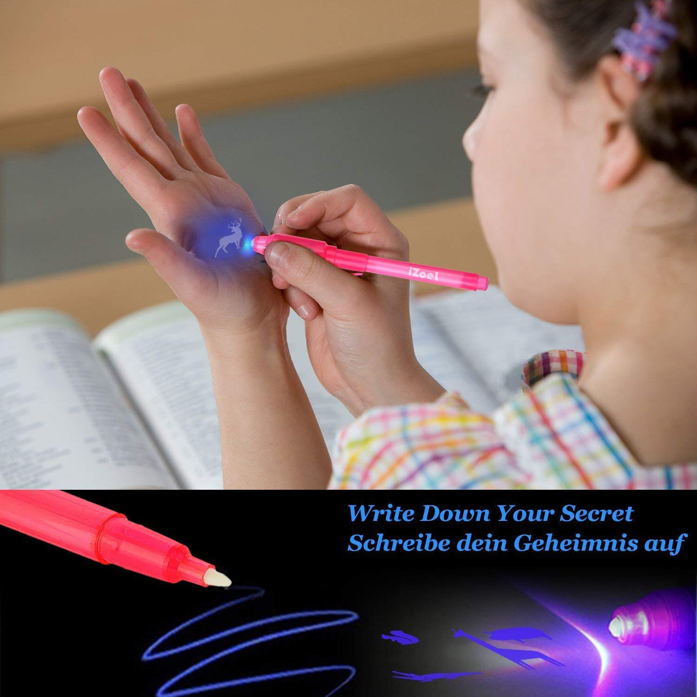 21 St/ück Geheimstift mit UV Licht Unsichtbar Schreiben Detektivgeburtstage Party Mitbringsel Gastgeschenk Fuer Kinder