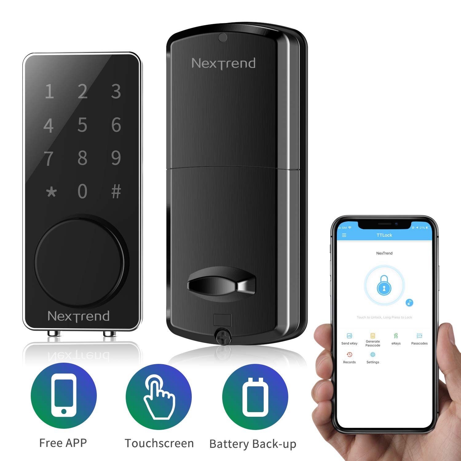 New Arrive Smart Bluetooth Lock, NexTrend Smart Deadbolt Door Lock Keyless, Touchscreen Keypad, Auto Lock, Send Ekeys, Free APP Monitoring, Easy to Install for Home, Hotel, Apartment, Black