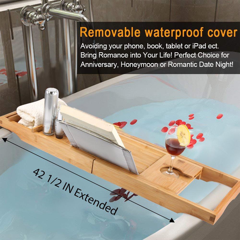 Amazon.com: Eilcoo Bathtub Caddy Tray,Bamboo Wood Luxury Bath Rack ...